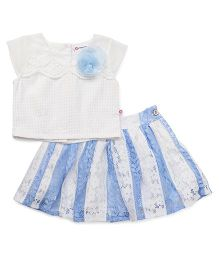 Peppermint Short Sleeves Top And Skirt Set - White & Blue