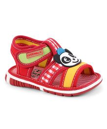Cute Walk by Babyhug Sandals Velcro Closure Patch & Check Design - Red