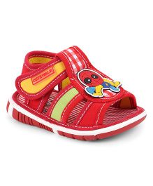 Cute Walk by Babyhug Sandal Cartoon Patch & Checks Design - Red