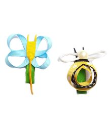 Reyas Accessories Set Of Bugs Hair Clip - Blue & Yellow