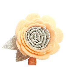 Reyas Accessories Floral Hair Clip - Peach & Silver