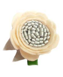 Reyas Accessories Floral Hair Clip - Cream & Silver