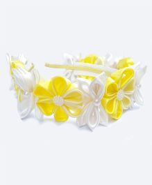 Reyas Accessories Kanzashi Tiara Hairband - Yellow & White