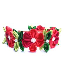 Reyas Accessories Kanzashi Tiara Hairband - Red & Green