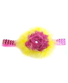 Reyas Accessories Feathery Headband - Yellow & Dark Pink