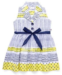 Rosy Bow Sleeveless Printed Collar Frock - Yellow