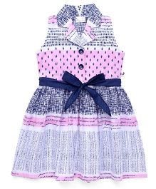 Rosy Bow Sleeveless Printed Collar Frock - Pink