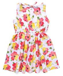 Rosy Bow Sleeveless Frock Floral Print - White & Red
