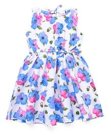 Rosy Bow Sleeveless Frock Floral Print - White & Blue