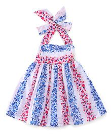 Rosy Bow Halter Neck Frock Hearst Print - Blue Pink