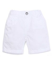 Fox Baby Shorts With Elasticated Waist - White