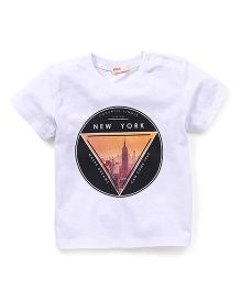 Fox Baby Half Sleeves T-Shirt New York Print - White