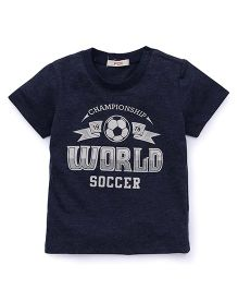 Fox Baby Half Sleeves T-Shirt World Soccer Print - Blue Melange
