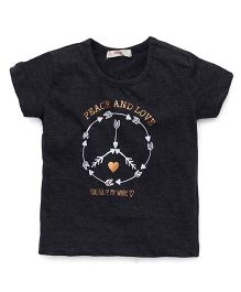 Fox Baby Half Sleeves T-Shirt Peace And Love Print - Black