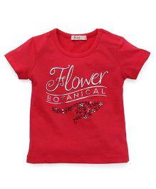 Fox Baby Half Sleeves Tee Floral Print - Cherry Red