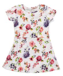 Fox Baby Short Sleeves Frock Floral Print - Off White