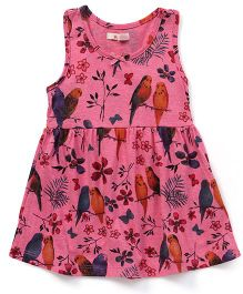 Fox Baby Sleeveless Frock Allover Print - Pink