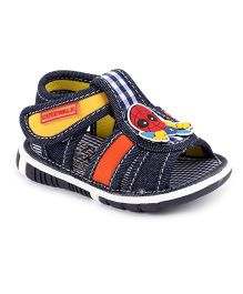 Cute Walk by Babyhug Sandal Cartoon Patch & Checks Design - Navy