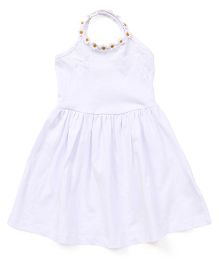 Fox Baby Singlet Frock Floral Applique - White