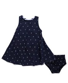 Fox Baby Sleeveless Frock With Bloomer Anchor Print - Dark Navy Blue