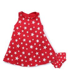 Fox Baby Sleeveless Frock With Bloomer Star Print - Cherry Red
