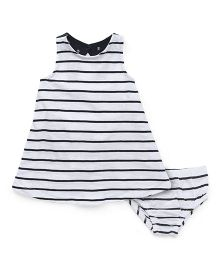 Fox Baby Striped Frock With Bloomer - White