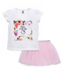 Fox Baby Short Sleeves Top And Skirt Set Hello Kitty Print - White & Pink