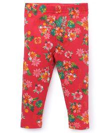 Fox Baby Leggings Floral Print - Light Red