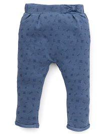 Fox Baby Leggings Floral Print - Denim Blue