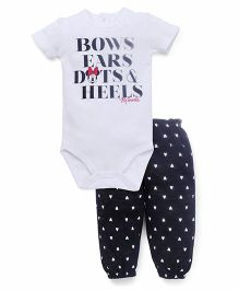 Fox Baby Half Sleeves Onesies & Legging Set Minnie Print - White & Black