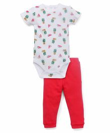 Fox Baby Half Sleeves Onesies & Legging Set Allover Fruit Print - White & Red