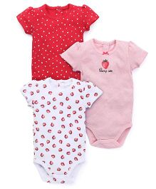 Fox Baby Half Sleeves Printed Onesies Set Of 3 - White Pink Red