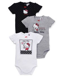 Fox Baby Half Sleeves Onesies Hello Kitty Print Set Of 3 - Black Grey White