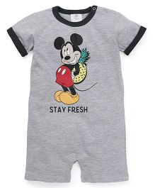 Fox Baby Half Sleeves Romper Mickey Print - Grey