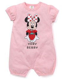 Fox Baby Short Sleeves Romper Minnie Mouse & Very Berry Print - Pink