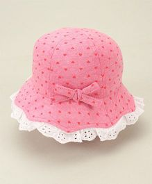 Fox Baby Bucket Hat Lace Detailing - Light Pink