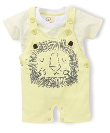 Olio Kids Dungaree Style Romper With T-Shirt Lion Print - Yellow White