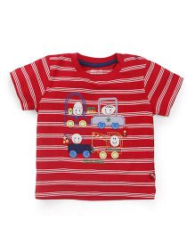 Bodycare Half Sleeves Striped T-Shirt With Embroidery - Red