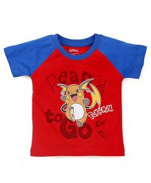 Bodycare Half Raglan Sleeves Tee Pokemon Print - Red