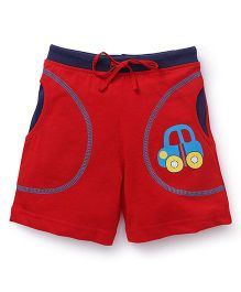 Bodycare Casual Shorts With Car Patch - Red