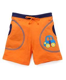 Bodycare Casual Shorts With Car Patch - Orange