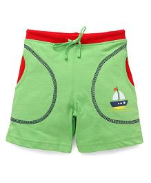 Bodycare Casual Shorts Boat Print - Green & Red