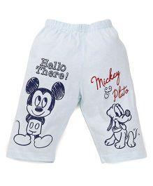 Bodycare Three Fourth Pajama Mickey & Pluto Print - Light Blue