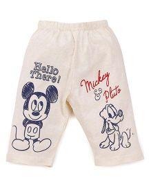 Bodycare Three Fourth Pajama Mickey & Pluto Print - Light Cream