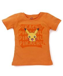 Bodycare Half Sleeves Tee Pokemon Print - Orange