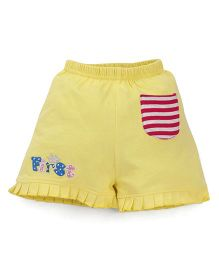 Bodycare Casual Shorts With Pleated Hem - Yellow
