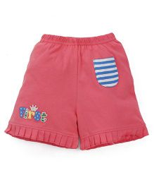 Bodycare Casual Shorts With Pleated Hem - Pink