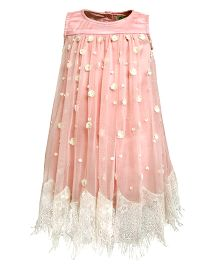 A Little Fable Sleeveless Eyelash Party Dress - Pink