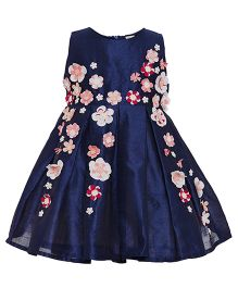 A Little Fable 3D Flower Party Dress - Navy