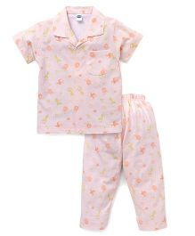 Teddy  Half Sleeves Stripe Night Suit Animal Print - Peach White